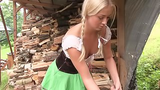 Pigtails Cayla cutting woods then fingering her pussy