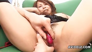 Japanese cunt is all wet from dildo play