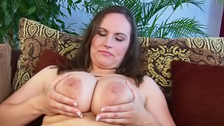 Brunette Olarita is a juicy BBW mommy with massively huge natural tits. She plays with her mammaries and then plays with her puffy pussy with her white panties on. She feels horny while playing with her juggs