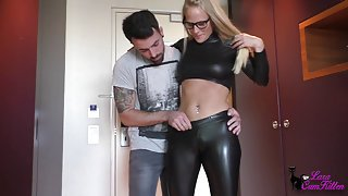 Blond in spandex leggins and top fucked and facialized