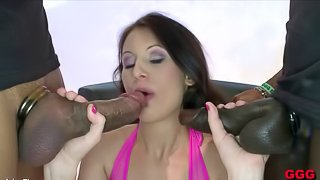 Many guys stand over her and fill her mouth with sticky jizz