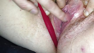 Welsh gf showing her hairy pussy closeup