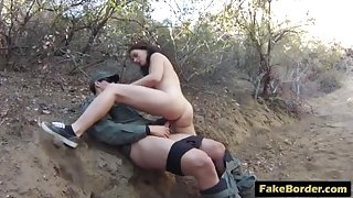 Brunette chick banged outdoors by border guard