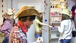 All the boys and girls at a dorm turn into cowgirls and cowboys. Its a king of cosplay. Thats a fun. There are really pretty cowgirls in this amateur video