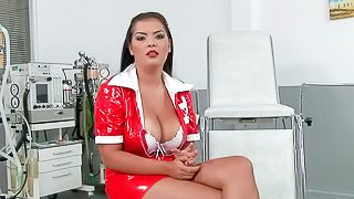 Smoking hot dark haired nurse with big jaw dropping gazongas in white bra and PVC uniform has amazing interview and remembers her fantasy where she stretched her fish lips with speculum