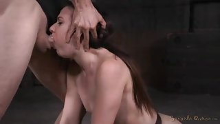 Hard face fucking wears out the slave in bondage