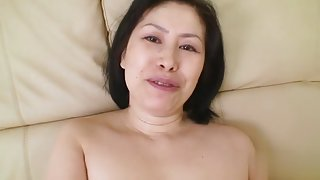 Oriental brunette mature in sex video