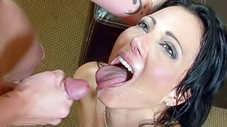 This cumshot compilation is all about MILFs! Nasty women, blonde and brunette, get their faces painted with sticky white sperm after hard sex with hot guys. Watch mature women lick sperm off their lips after cum facials