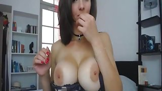 Pretty Babe with Perfect Body Fucks Herself with a Huge Dildo