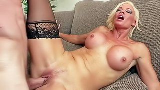 Rhylee Richards is a sexy psychiatrist with big tits. Her client Jordan Ash goes crazy about huge tits and she gives him the satisfaction! Busty blond milf gets her mouth and pussy fucked as hard as possible by horny man