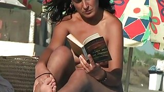 A very cute girl in a Spanish nudist  beach