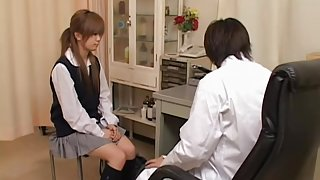 Saiko's hairy cunt is fingered until climax by gynecologist