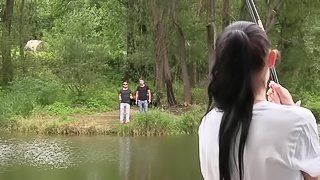 Two fellas dicking petite babe with a ponytail Nicole Love by the lake