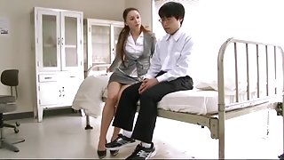AMWF WHITE TEACHER ANGELINA GIVES ASIAN STUDENT BLOWJOB