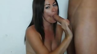 MILF making blowjob to a very big dick