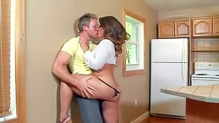 Young and handsome dude meets his busty and dark haired milf neighbour with an arousing curvaceous body and hot bubble butt and enjoys in passionate amateur sex in the apartment with her