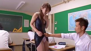 Naughty Asian college girl gets fingered by her horny teacher