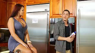 Mackenzee Pierce gives cock a hardcore blowjob in kitchen fuck action