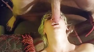 Deep throating geek girl gets gagging face fuck and swallows it all