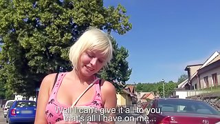 Amateur young blonde babe with natural boobs and tight eatable bums in provocative outfit strips for some cash in public while dirty dude films her in point of view
