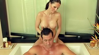 Jennifer Dark is a sexy bodied masseuse with big boobs. Hot bodied brunette makes guys cock hard with ease and then strokes his dick under the shower. Nuru cock massage is what he loves so much
