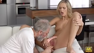 OLD4K. Mature guy penetrates beautiful wife in old and young video