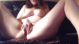 Selfie masturbation sextape on the sofa. i love her huge tits !!!