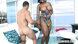 Gorgeous black lady with huge boobs gets her pink snatch banged deep