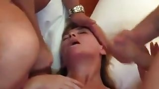 German milf blonde wife is getting double penetrated for the first time