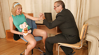 TrickyOldTeacher - Mature teacher fucks sexy blonde student and fucks her tight pussy
