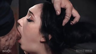 Whore in the dungeon opens wide for face fucking