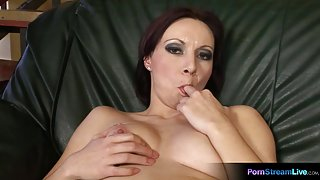 Lili gets off with a huge dildo on the couch