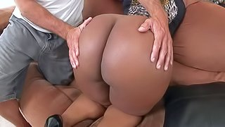 Layla Monroe is a ebony BBW with thick bare booty. She bends over and shows off her killer bottom with no shame. Guy puts his hands on her massive butt cheeks. Chubby black lady is proud of her huge ass!