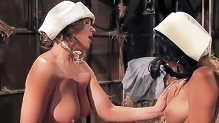 Dark haired playful Breanne Benson with huge juicy knockers is horny village girl. She seduces her gorgeous curvy brunette crash and has amazing pussy polishing action in the barn