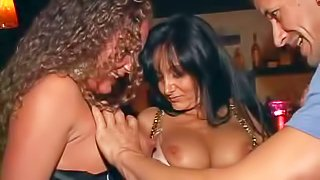 Experienced dirty stud Sergio takes advantage on drunk bitches Kendra, Sandy, Ava Adams, Rose and Sarah in sexy dresses and gets his cock sucked good on dance floor at the wild part