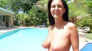 Ava Addams is a charming dark haired woman with well shaped butt and big natural boobs. She poses in bikini and naked by the pool. Lovely woman with hot body and beautiful smile shows it all