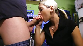 Sucking a hard cock for cash