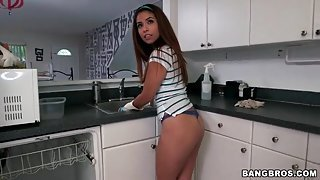 Maid does the dishes in a sexy lace thong