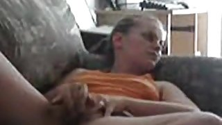 Dude tapes his blonde gf watching porn and masturbating