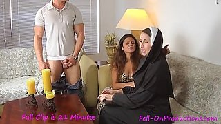 Catholic Nun fucks MILF mom and son . Madisin Lee in Nun Professor Pays a Visit