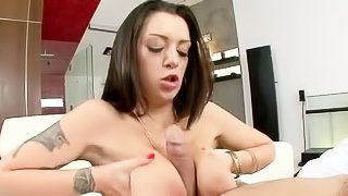 Black haired tattooed woman Melina Mason with huge jugs has fun with stiff thick dick with wild desire. She takes guys boner between her melons and then he takes care of her smooth thirsty pussy