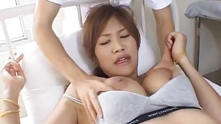 Azusa Ayano sexy Asian milf gives incredible double blowjob in threesome