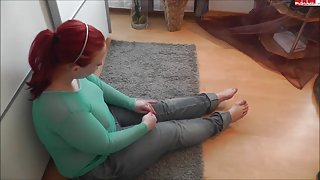 Chubby redhead teen gets it in the ass and on the face