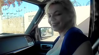 Alice Frost is cash hungry and Romeo Price cant wait to get his dick sucked. Blonde hottie gets paid to blow his dick in a car and flash her juicy titties. Pretty nice blowjob session!
