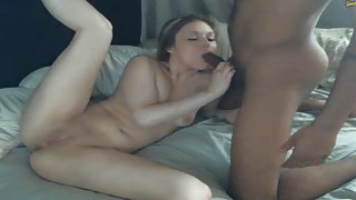 Lusty blonde rides a black pecker in HD and loves it