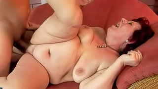 Hetty is a horny plump granny with saggy natural titties and wet hairy twat. She gets her fuck hole filled with rock solid young dick. Watch horny boy bang thick mature slut like crazy