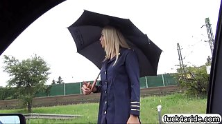 Stranded stewardess Christen Courtney banged and jizzed on