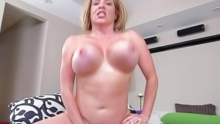Maggie Green is a blonde haired horny milf with huge knockers. Slutty woman with massive jugs gets face fucked before she takes his love bone up her soaking wet pussy. Watch big breasted woman take cock