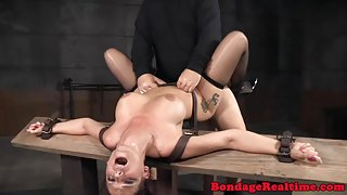 Restained submissive facefucked and pounded